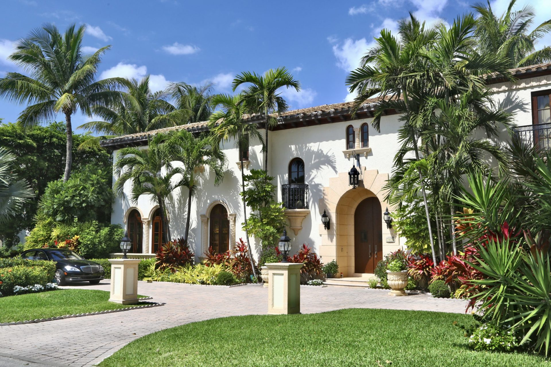 Palm Beach, Florida, USA - March 15, 2014: Wonderful mansion in spanish style. No people.
