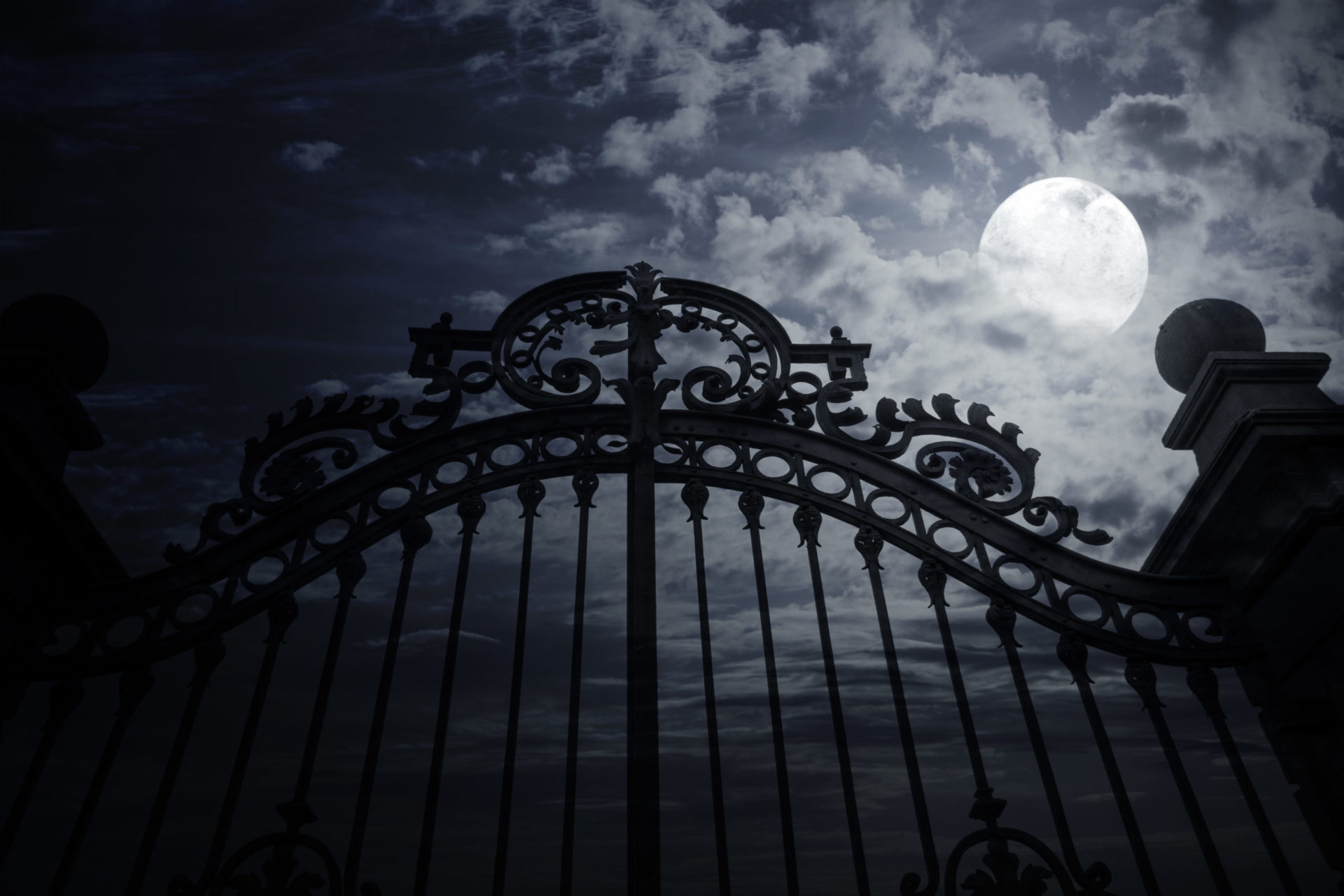 Old metal gate and full moon